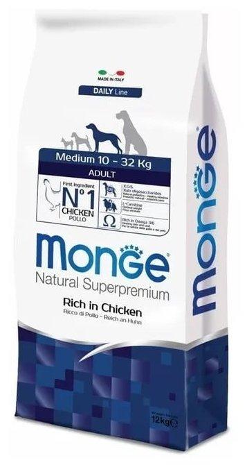 Корм для собак Monge Dog Medium Adult – Курица с рисом. Для взрослых собак средних пород