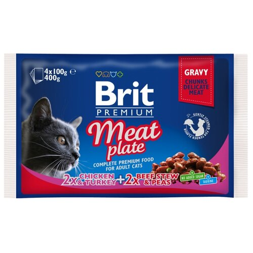 Корм для кошек Brit Premium Meat Plate беззерновой, с курицей, с индейкой, с говядиной 4шт. х 100 г (кусочки в соусе)Корма для кошек<br>