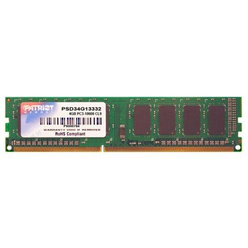 Купить Оперативная память Patriot Memory DDR3 1333 (PC 10600) DIMM 240 pin, 4 ГБ 1 шт. 1.5 В, CL 9, PSD34G13332