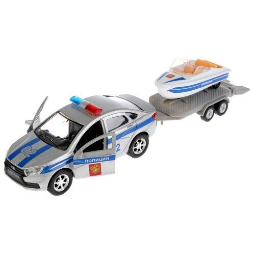 Купить Набор техники ТЕХНОПАРК Lada Vesta Полиция с лодкой (SB-17-57WB) 12 см серый/синий, Машинки и техника