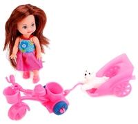 Кукла Карапуз Hello Kitty Машенька на велосипеде с прицепом, 12 см, MARY0816-BB-HK
