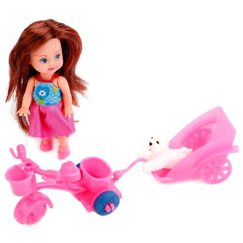 Купить Кукла Карапуз Hello Kitty Машенька на велосипеде с прицепом, 12 см, MARY0816-BB-HK, Куклы и пупсы