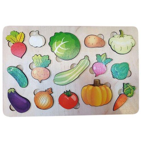 Рамка-вкладыш Нескучные игры Овощи большая (7987), 15 дет. рамка вкладыш нескучные игры больше меньше геометрия