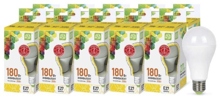 Упаковка светодиодных ламп 10 шт ASD LED-A60-standard E27, A60, 20Вт, 3000К