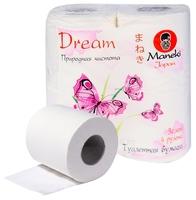 Туалетная бумага Maneki Dream Природная свежесть белая трёхслойная 4 шт.