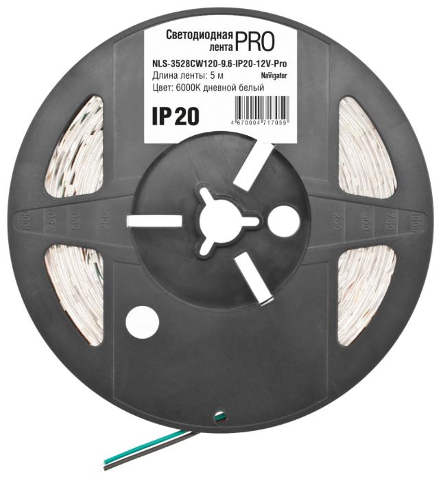 Светодиодная лента Navigator NLS-3528CW120-9.6-IP20-12V-Pro R5 5 м