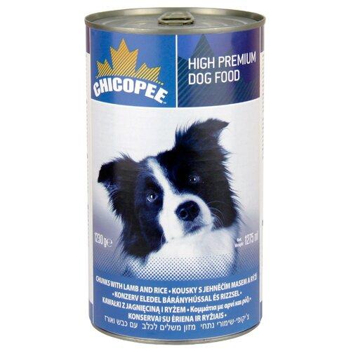 Влажный корм для собак Chicopee (1.23 кг) 1 шт. Консервы для собак: мясные кусочки с ягненком и рисом 1.23 кг
