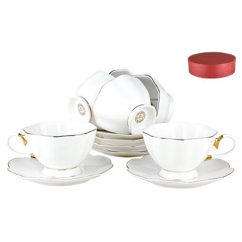 Чайный сервиз Коралл Натали белый, золотойСервизы<br>