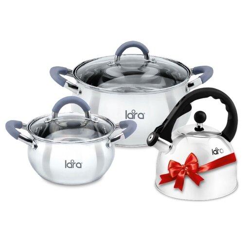 Фото - Набор посуды LARA LR02-103 Bell 5 пр. серебристый набор кастрюль lara lr02 111 4 пр rio