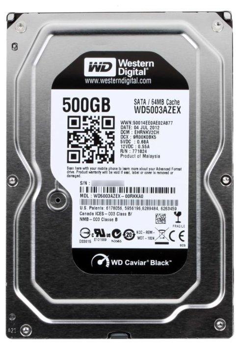 Western Digital Жесткий диск HDD 500Gb Western Digital, SATA-III, 64Mb, 7200rpm, Caviar Black #WD5003AZEX
