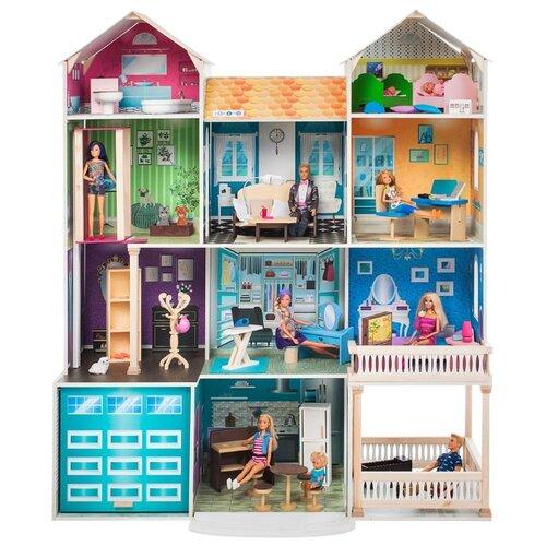 Купить PAREMO Интерактивное поместье Летиция (с мебелью, свет, звук) PD318-19, голубой/желтый/оранжевый/серый, Кукольные домики