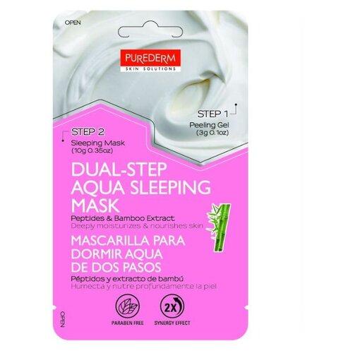 Purederm аква-маска для сна с пептидами и экстрактом бамбука + Отшелушивающий гель, 10 гМаски<br>