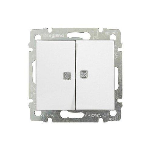 Выключатель 2х1-полюсныйвыключатель / переключатель Legrand Valena 774428,10А, белыйРозетки, выключатели и рамки<br>