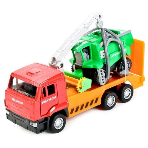 Набор машин ТЕХНОПАРК КамАЗ эвакуатор с комбайном (SB-17-24-E-WB) оранжевый/красный/зеленый