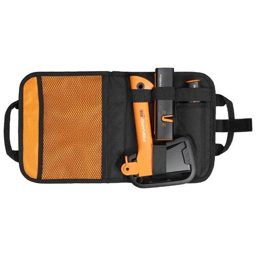 Туристический топор FISKARS Х5 + нож общего назначения + точилка в сумке черный/оранжевый
