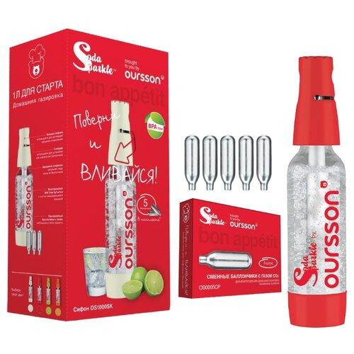 Сифон для газирования воды + баллоны Oursson OS1000SK 6 шт. красный