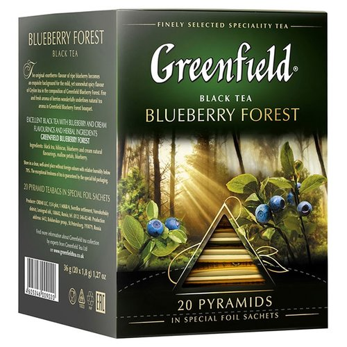 Чай черный Greenfield Blueberry Forest в пирамидках, 20 шт. svay black thyme черный чай в пирамидках 20 шт