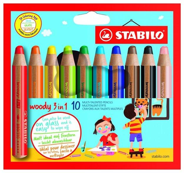 STABILO Цветные карандаши Woody 3 in 1 10 цветов (880/10)