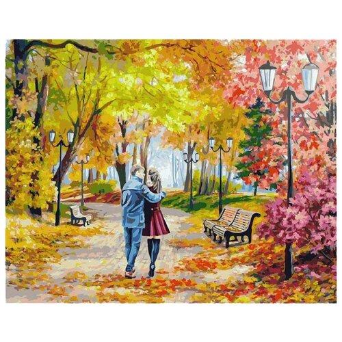 Купить Белоснежка Картина по номерам Осенний парк, скамейка, двое 40х50 см (142-AB), Картины по номерам и контурам