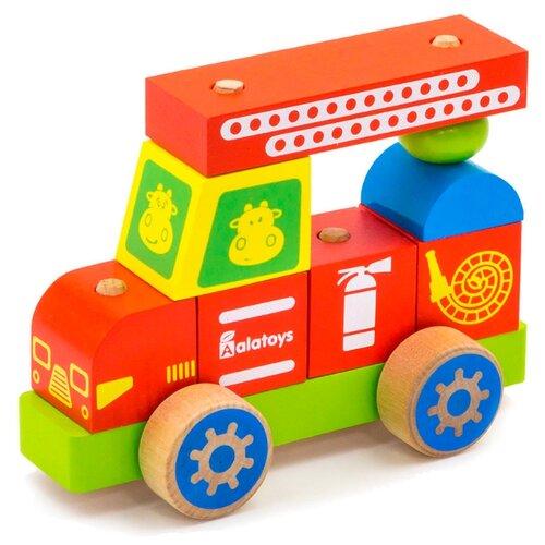 Купить Каталка-игрушка Alatoys Пожарная машина (ККМ01) красный/голубой/зеленый/желтый, Каталки и качалки