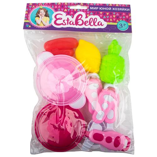 Купить Набор продуктов с посудой EstaBella Кухня юной хозяйки 68122 розовый, Игрушечная еда и посуда