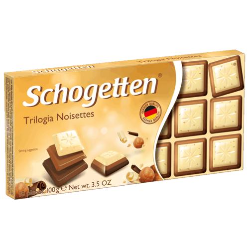 Шоколад Schogetten Trilogia Noisettes белый с грильяжем и фундуком+молочный с джандуей+молочный порционный, 100 г