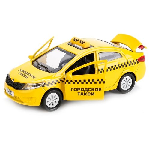 Купить Легковой автомобиль ТЕХНОПАРК Kia Rio Такси (RIO-TAXI) 12 см желтый, Машинки и техника