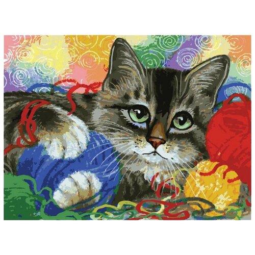 Белоснежка Картина по номерам Котик с клубочками 30х40 см (3005-CS) белоснежка алмазная мозаика белоснежка котик в лоскутках 30х40 см
