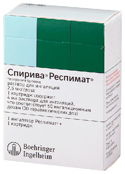 Спирива Респимат р-р д/инг. 2,5 мкг/доза картриджи 4 мл 60 доз №1