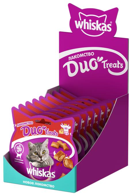 Лакомство для кошек Whiskas Duo Treats c говядиной и сыром