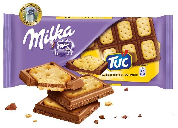 Шоколад Milka молочный с соленым крекером TUC