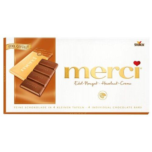 Шоколад Merci молочный порционный с ореховым кремом, 112 г мыло с колд кремом авен