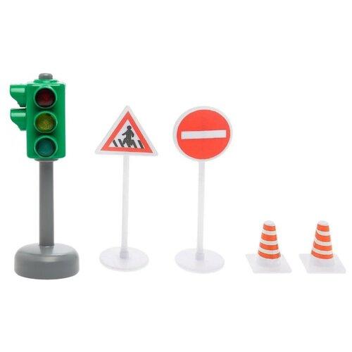 Купить ТЕХНОПАРК Светофор SB-13-12 зеленый/серый/красный/белый, Детские парковки и гаражи