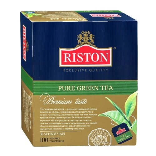 Чай зеленый Riston Pure green в пакетиках, 100 шт.