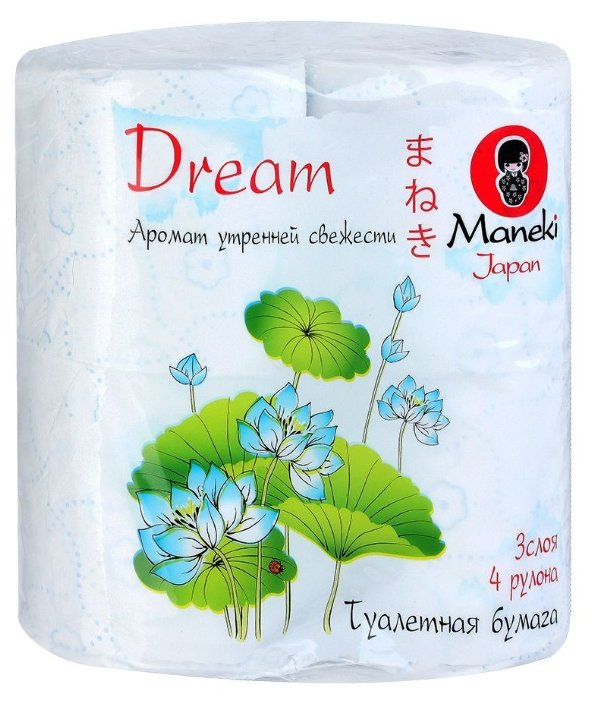 Туалетная бумага Maneki Dream Аромат утренней свежести белая трёхслойная