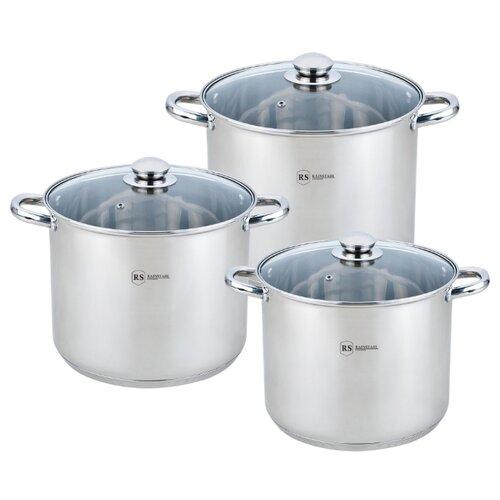 Набор кастрюль Rainstahl 2501-06RS/CW BK 6 пр. серебристый набор посуды rainstahl 6 предметов 1616 06rs cw