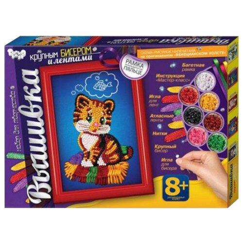 Купить Danko Toys Набор для вышивания крупным бисером и лентами Котенок (БВ-02-02), Наборы для вышивания