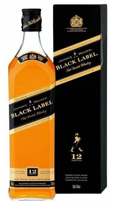 Виски Johnnie Walker Black Label 12 лет 0.5 л, подарочная упаковка