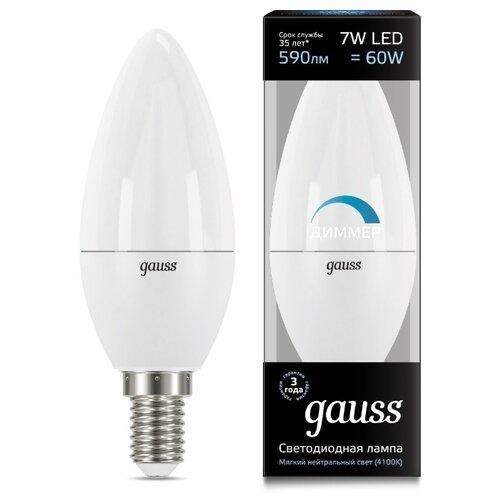 Лампа светодиодная gauss 103101207-D, E14, C38, 7Вт лампа светодиодная gauss 103101207 d e14 c38 7вт
