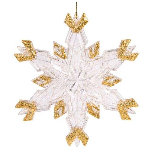 Елочная игрушка Magic Time Снежинка с золотом (78036) прозрачный/золотой