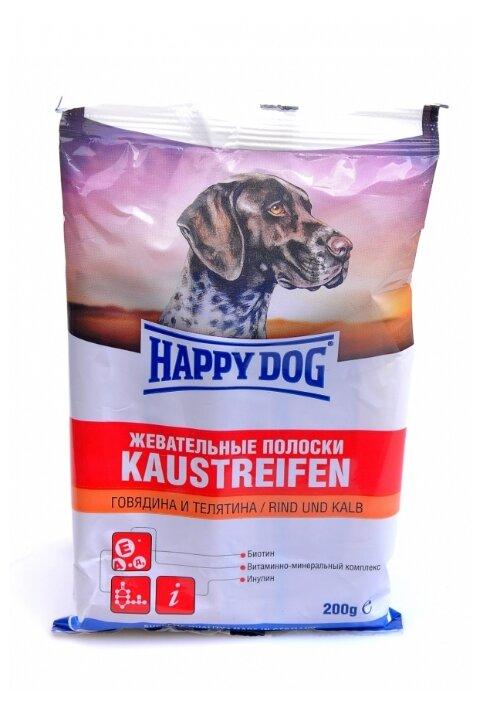 Лакомство для собак Happy Dog Жевательные полоски с говядиной и телятиной, 200 г
