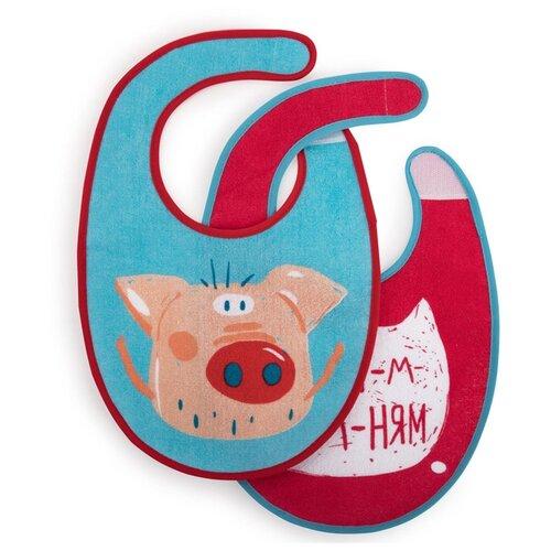 Купить Happy Baby Набор нагрудников Set Terry Bibs, 2 шт., расцветка: pig, Нагрудники и слюнявчики