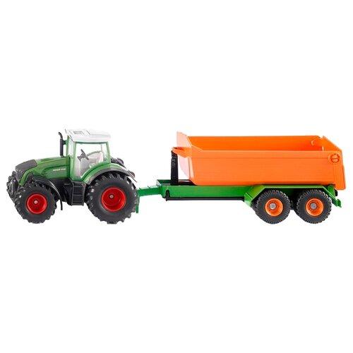 Трактор Siku Fendt с крюковым прицепом-кузовом (1989) 1:50 34 см зеленый/оранжевый трактор экскаватор falk педальный с прицепом зеленый 225 см