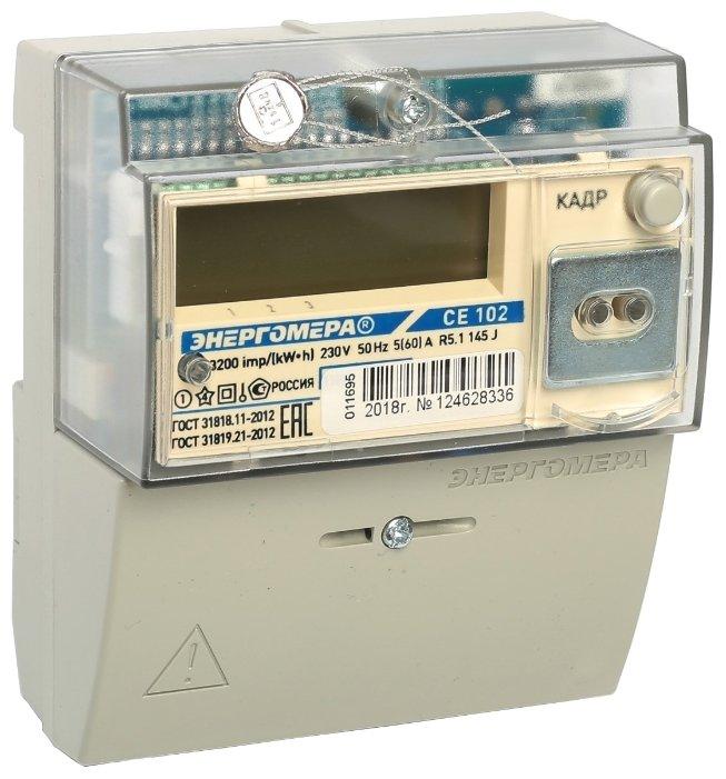 Счетчик электроэнергии однофазный многотарифный Энергомера CE 102 R5.1 145 J 5(60) А