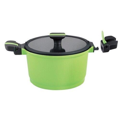 Кастрюля GIPFEL SHAFRAN 5 л, зеленый / черный кастрюля gipfel stadella 5 л бирюзовый
