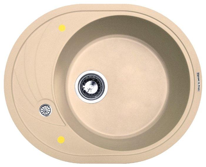 Врезная кухонная мойка Zigmund & Shtain KREIS OV 575 57.5х46.5см искусственный гранит