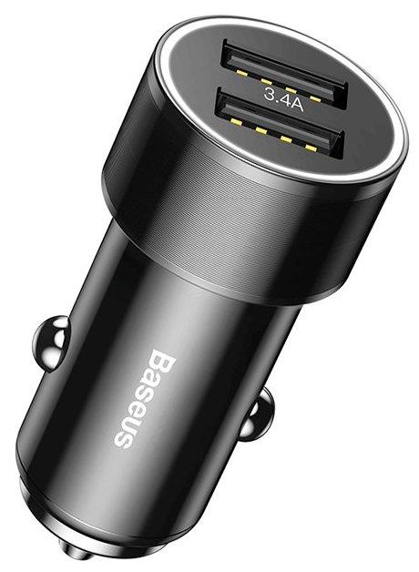 Автомобильное зарядное устройство Baseus Small Screw Series 2USB 3.4A + Lightning Cable TZXLD-A01 (Черный)
