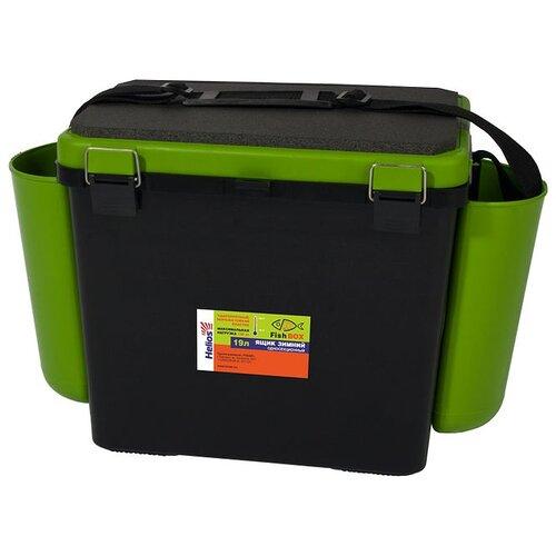 Ящик для рыбалки HELIOS FishBox односекционный (19л) 38х25.5х32см зеленый/черный