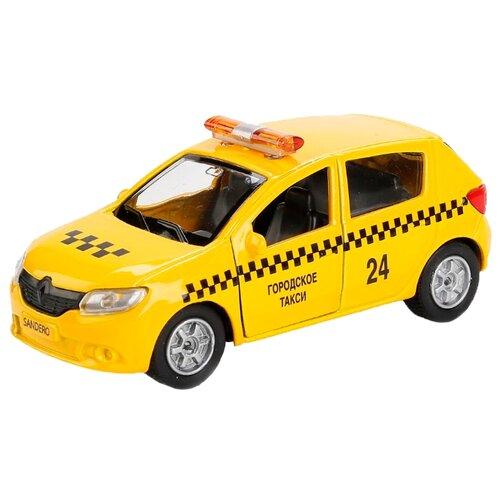 Купить Легковой автомобиль ТЕХНОПАРК Renault Sandero (SB-17-61-RS(T)-WB) 12 см желтый, Машинки и техника