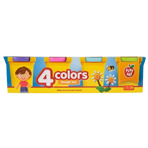 Масса для лепки Play Art набор 4 цвета (PA-3216-2) масса для лепки play art набор 8 цветов pa 3282